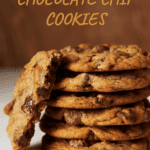 Broken chocolate chip cookie and stack