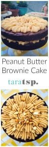 Pinterest image for Peanut Butter Brownie Cake with text