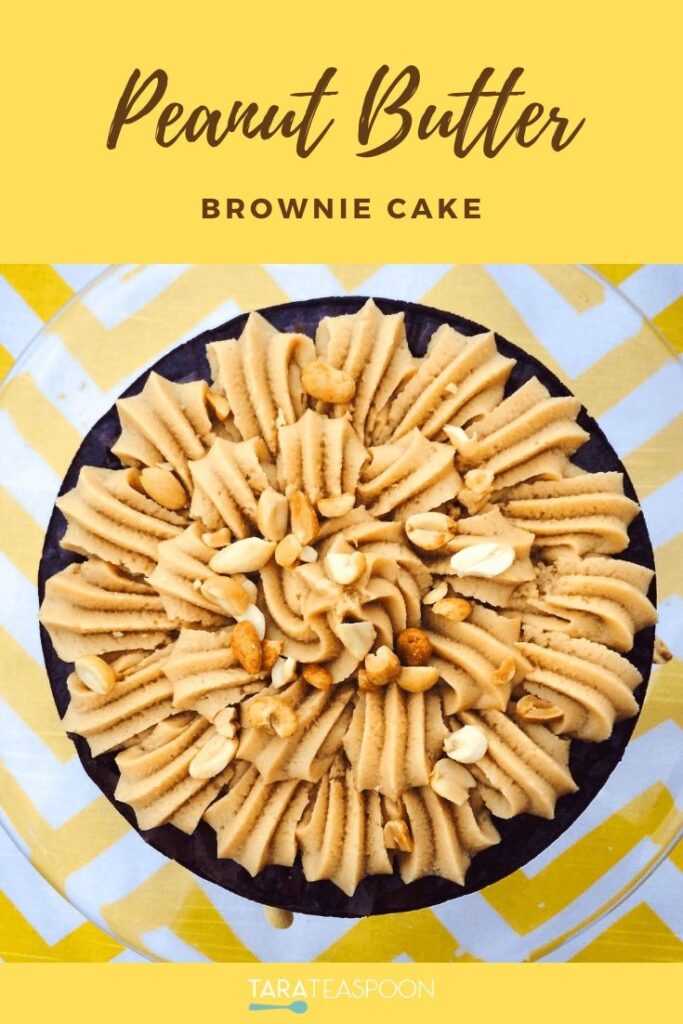 Peanut Butter Brownie Cake Pinterest pin in yellow