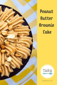Peanute Butter Brownie cake half view Pinterest pin