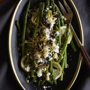 Asparagus with Lemon, Olives and Feta