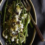 Asparagus with Lemon, Olives and Feta in serving platter