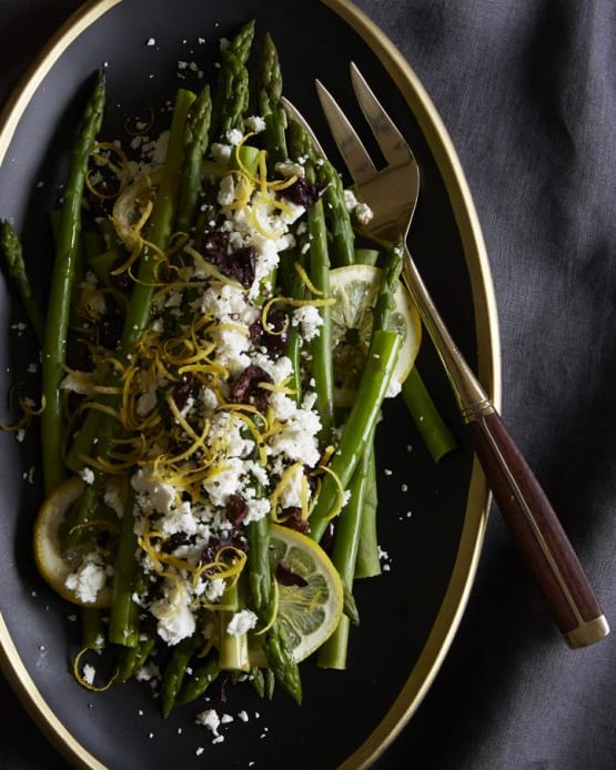 Close up of Asparagus with Lemon, Olives and Feta