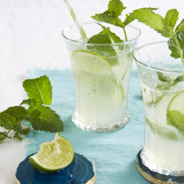 Tara Teaspoon mint limeade in cold glasses