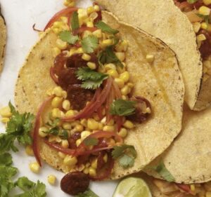 Close up recipe image of Corn Chorizo Tacos