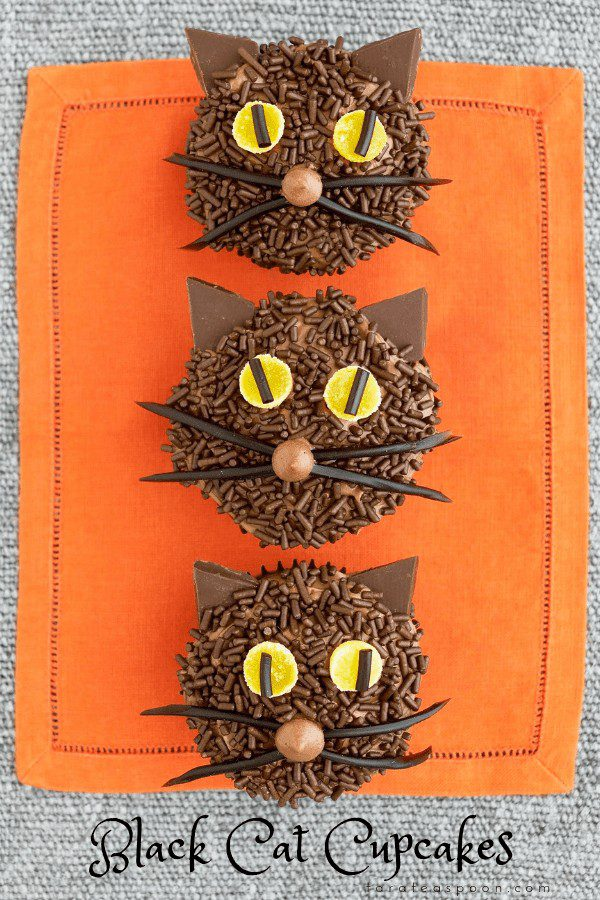 Black Cat Cupcakes are chocolatey from bottom to top. They are festive and easy to decorate; you can never go wrong with a cute black cat!
