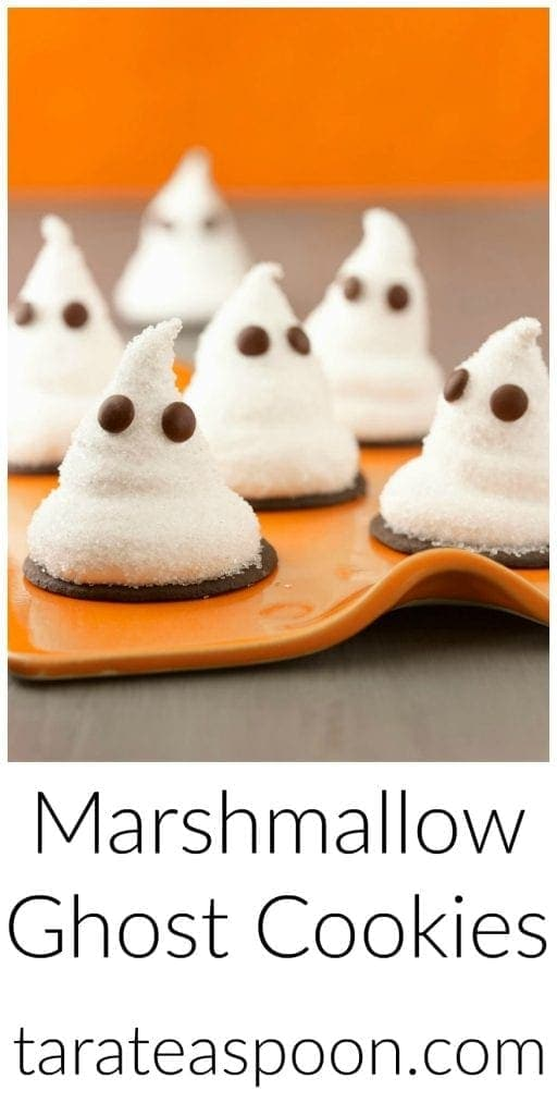 Pinterest image for Marshmallow Ghost Cookies with text
