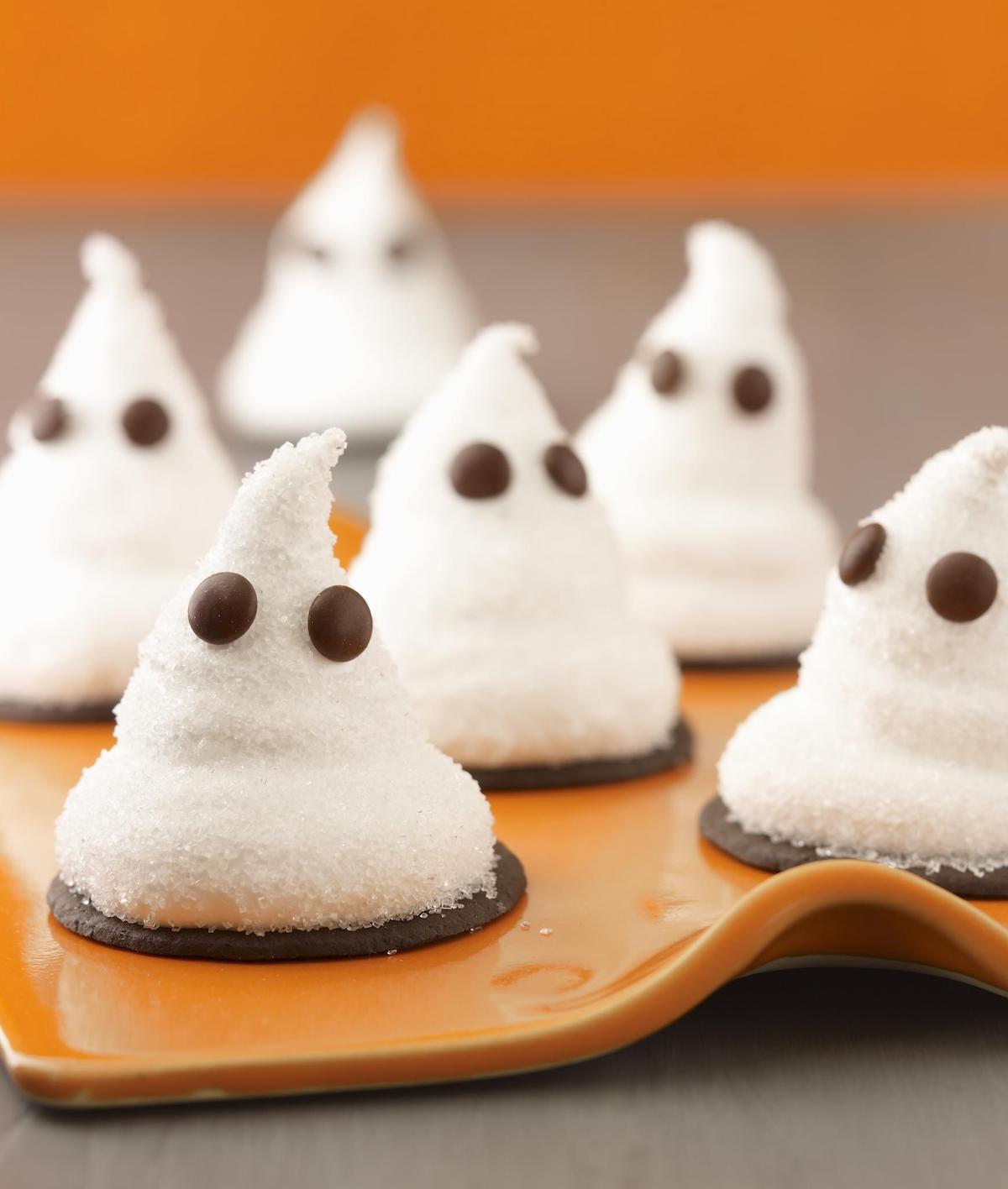 Ghost Cookies made from Marshmallow