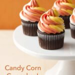 Pinterest image for Candy Corn Twist Cupcakes with text