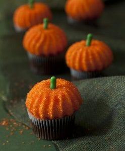 Pumpkin Marshmallow Cupcakes on dark green fabric