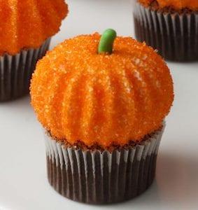 Close up image of orange Pumpkin Marshmallow Cupcake