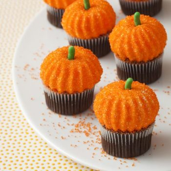 Pumpkin Marshmallow Cupcakes displayed on plate