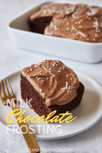 milk chocolate frosting on chocolate cake square sitting on white plate with gold fork