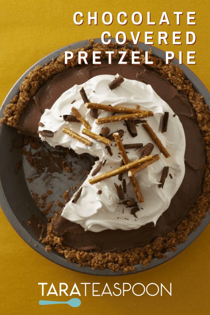 Chocolate Covered Pretzel Pie closeup missing slice pin