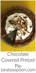 Pinterest image for Chocolate Covered Pretzel Pie with text