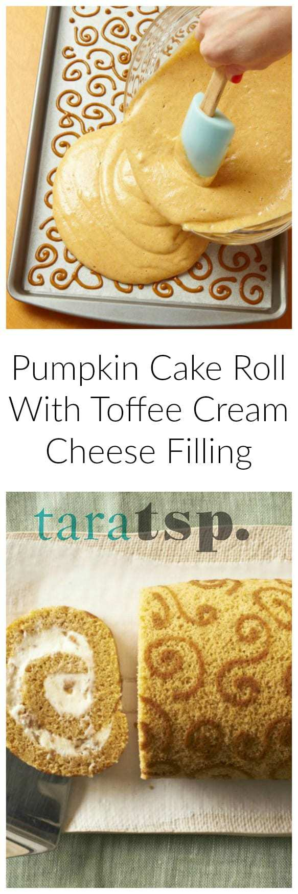 Pumpkin Cake Roll With Toffee Cream Cheese Filling ...