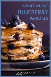 whole wheat blueberry pancakes pin