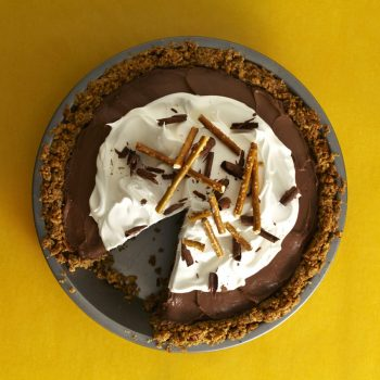 Chocolate pie with piece missing