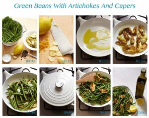 Step shots for Green Beans with Artichokes and Capers