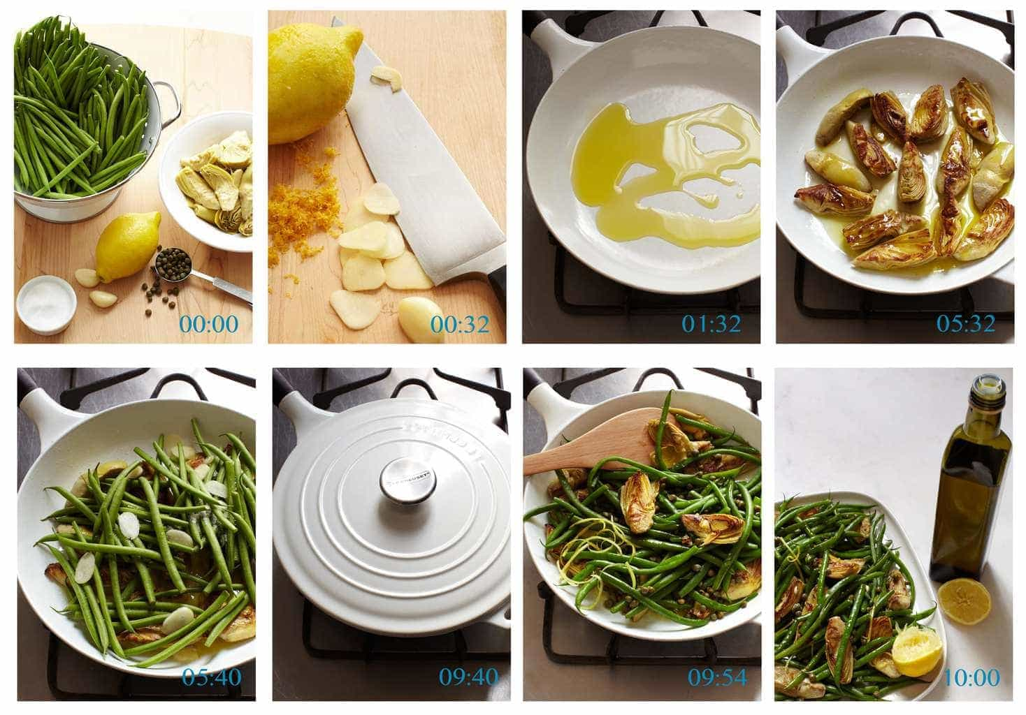 Steps on Making Green Beans With Artichokes And Capers