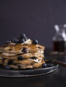 Whole Wheat Blueberry Pancakes with Gingered Syrup