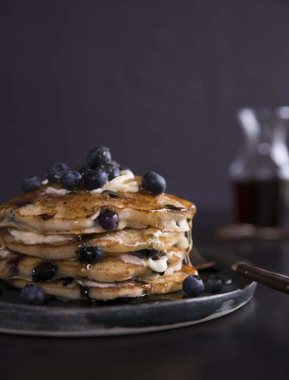 Whole Wheat Blueberry Pancakes + Buttery Ginger Syrup