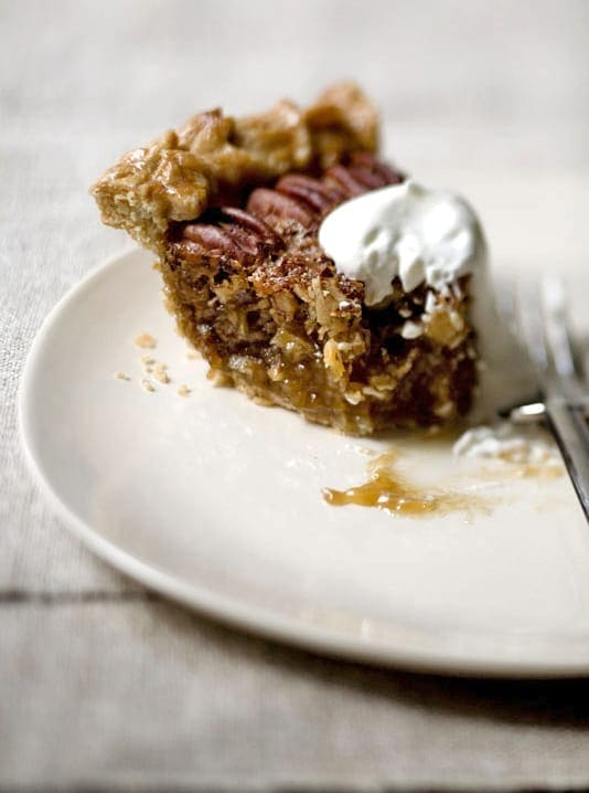 Half eaten piece of Gingered Coconut Pecan Pie