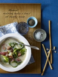 sausage and greens soup pinterest image with text