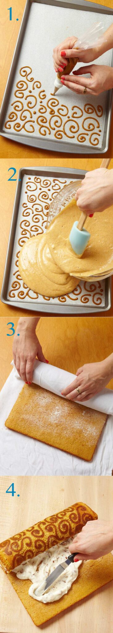 Steps on making a Pumpkin Cake Roll With Toffee Cream Cheese Filling
