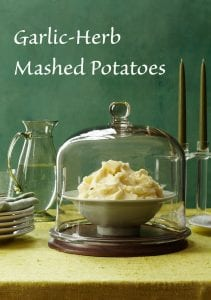 Pinterest image of garlic herb mashed potatoes with text