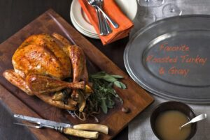 Favorite Roasted Turkey and Gravy image with text