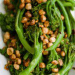 Holiday side dish Baby Broccoli with Hazelnuts pin image