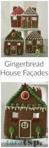 Pinterest image for Gingerbread House Façades with text