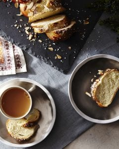 Pulla bread sliced on table with tea
