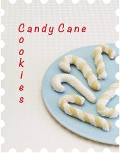 Pinterest image of candy cane cookies with text