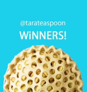 Unbaked pie with polka dot crust announcing winners of a giveaway