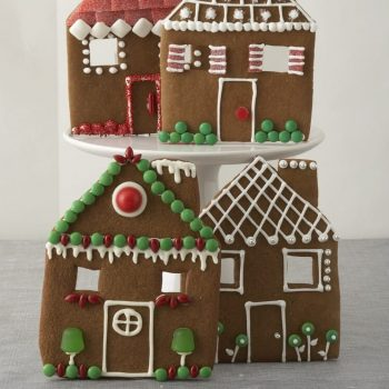 Gingerbread House Facades decorated with green and red candies