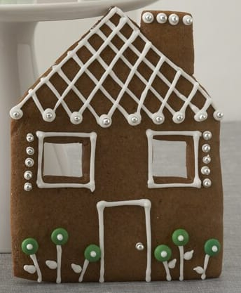 Gingerbread House Facade decorated with white icing