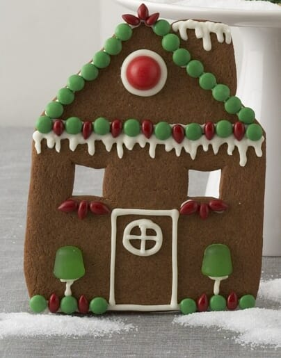 Gingerbread House Facade decorated with green and red candies