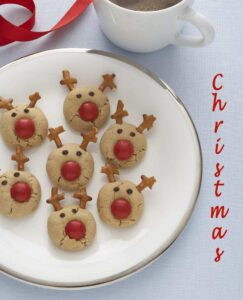 Pinterest image of Peanut Butter Reindeer Cookies with text