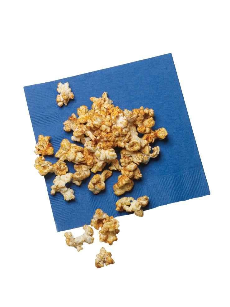 Sweet Chili Spiced Popcorn on blue napkin