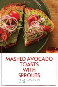 avocado mash toasts with sprouts pin