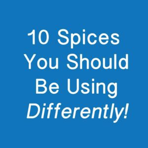 Text on blue background - 10 spices