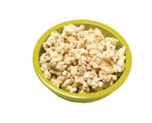 Apple Cinnamon Popcorn in green bowl