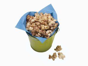 Chocolate Malt Popcorn in green bucket