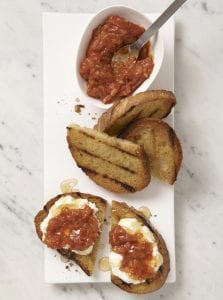 Toast with chutney, honey and cheese