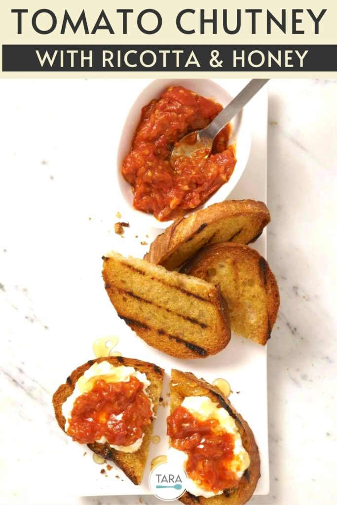 tomato chutney toasts recipe pin