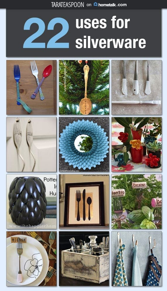 Pinterest image of 22 uses for silverware with text