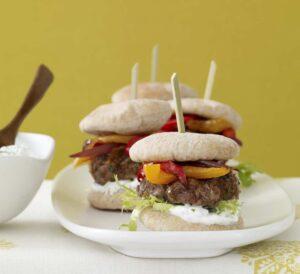 Mini Greek Pita Patties with Greek Yogurt Sauce recipe feature image