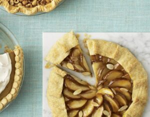 Pear Frangipane Crostata on marble board